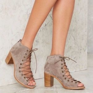 Jeffrey Campbell Cors Suede Booties Taupe Sz 9